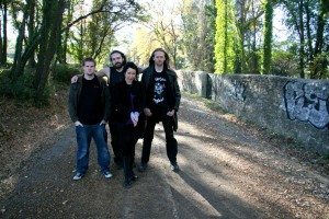 "Band on the ""Darker Chapter… and stars"" tour, Part1. with from left to right: Yoann Le Gall, Jan Sormo and Loïc Tézénas"