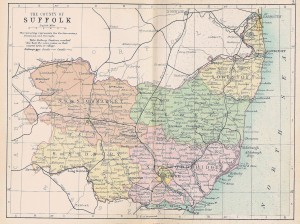 Philips' Suffolk map of 1895 (the town is still at the same place ;-) credits: Foxearth