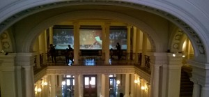 Inside Ateneum, a footage of an orchestra playing Finlandia.