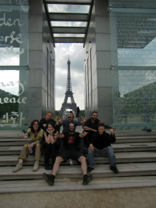 "souvenir from the DCas tour, with from down right: Caroline Legrand, Eilera, Jan Sormo, Aurélien Garcia, Jean Ferry, Sébastien ""Casquette"", Loïc Tézénas"